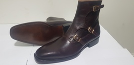 Handmade Men Brown Leather Monk Strap Buckle Boot image 2