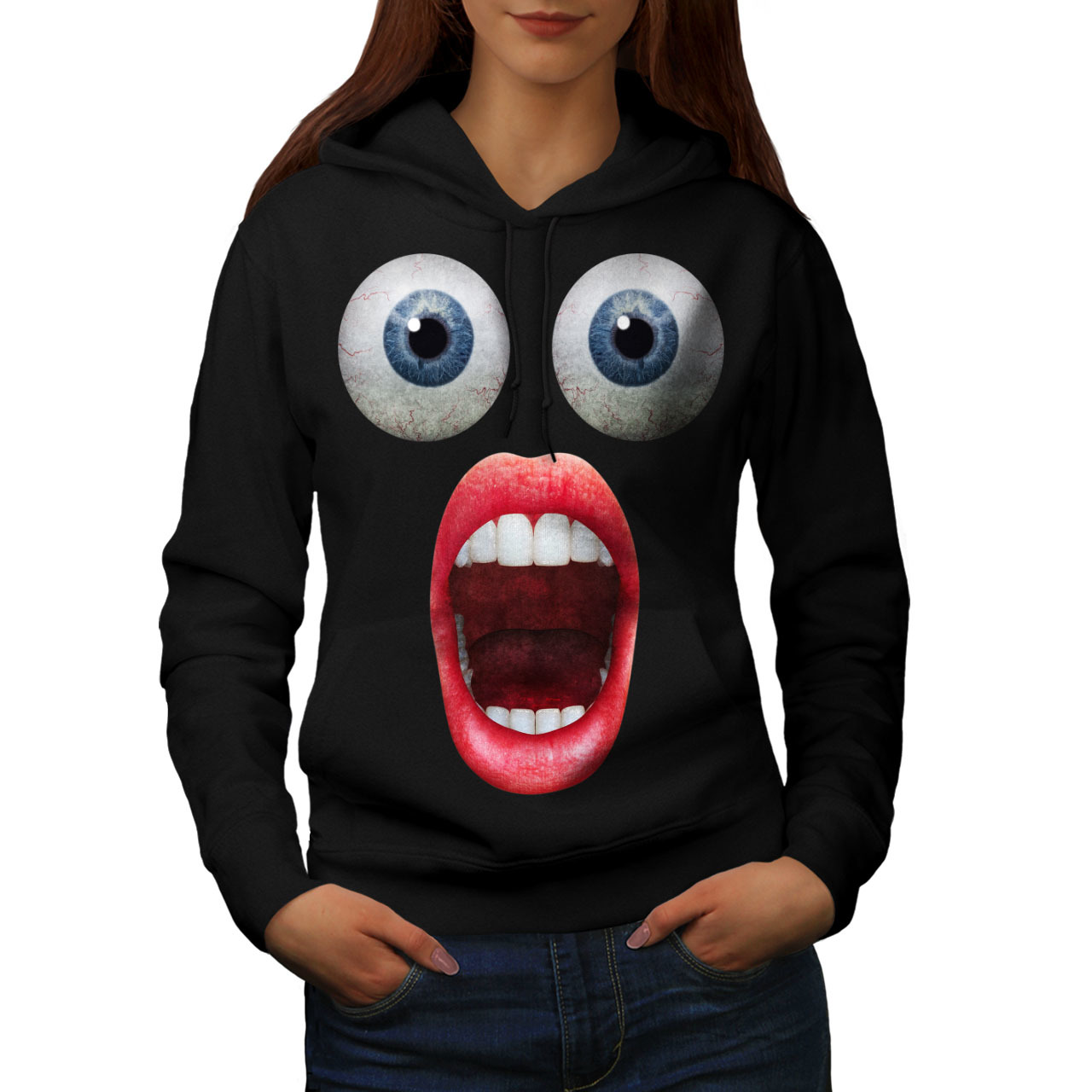 Primary image for Surprise Face Cool Funny Sweatshirt Hoody Shocking Women Hoodie