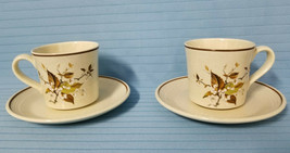 2 Royal Doulton WILD CHERRY #LS1039 Tea Cup & Saucer Brown White Floral Mug  - $29.99