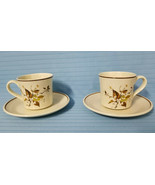 2 Royal Doulton WILD CHERRY #LS1039 Tea Cup & Saucer Brown White Floral ... - $29.99