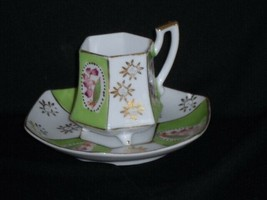 Vintage ROYAL SEALY Demitasse Cup and Saucer Green Pink Made In Japan  - $10.88
