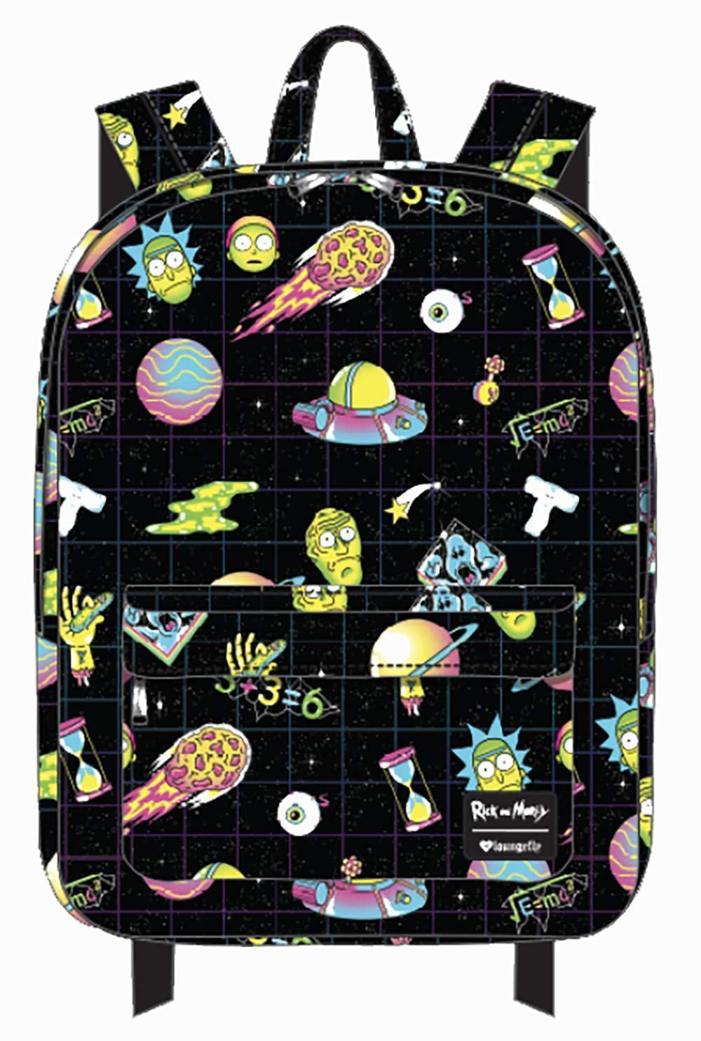 88398f5406a19 57. 57. Previous. Loungefly Rick and Morty Galaxy Character School Book Bag  Backpack RNMBK0011