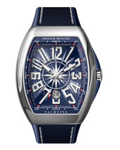 Franck Muller Vanguard Yachting watch with blue carbon fiber strap V 45 SC DT ya - $7,000.00