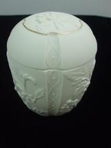 "White Porcelain Bisque Powder Jar 5"" tall Box w Lid Gold Trim Marked 200... - $9.75"