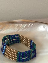 Estate Shades of Blue & Gilt Bead Wide Stretch Bracelet  - will fit small to med image 1
