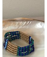 Estate Shades of Blue & Gilt Bead Wide Stretch Bracelet  - will fit smal... - $10.39