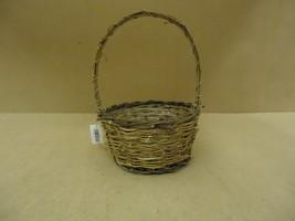 Handcrafted Basket 14in H x 9in Diameter Woodtone Handle Wicker - $12.52