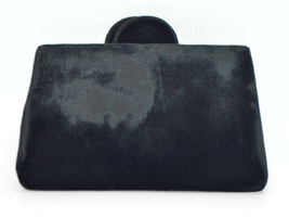 Black Velvet Clutch Purse Vintage Mid Century - $29.69
