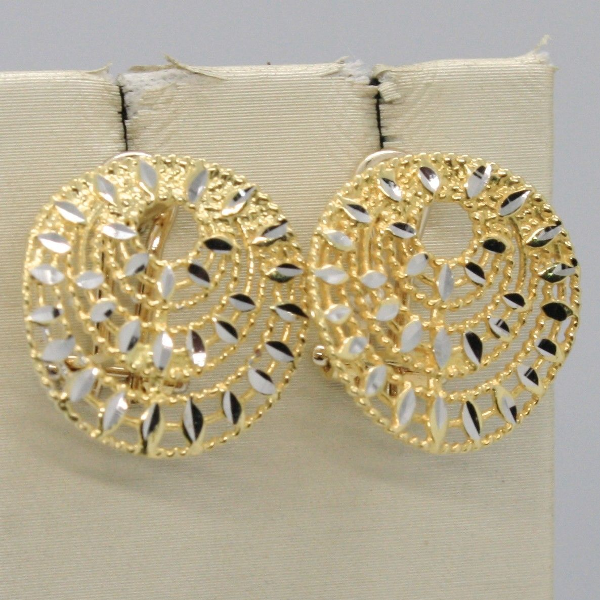 EARRINGS YELLOW AND WHITE GOLD 750 18K SHINY AND MILLED WITH CLIP MADE IN ITALY