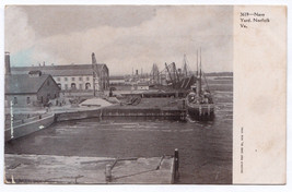1901-1907 Norfolk VA Virginia US U.S. Navy Yard Boats Harbor RARE UDB Po... - $9.89