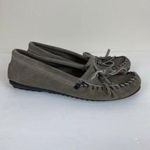 Minnetonka Leather Moccasin Flat 6 Women Shoes Gray Slip On Fringe Tasse... - $28.88