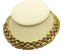 "TRIFARI  Choker Necklace  14""  Criss Cross Links  3/4"" Wide Goldtone - $19.95"