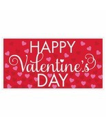 Happy Valentines Day Banner Plastic 65 x 33 inches Red Pink Hearts - $3.91