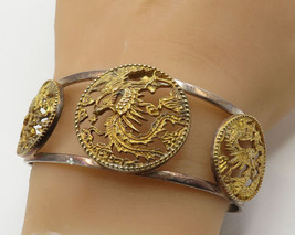 925 Sterling Silver - Vintage Ancient Chinese Art Animal Cuff Bracelet - B2224 - $86.26