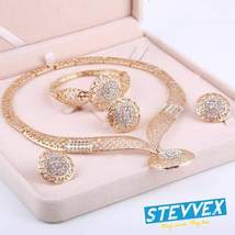 Luxury Gold Jewelry Sets Earrings Necklace Brecelet Ring Wedding African... - $37.80