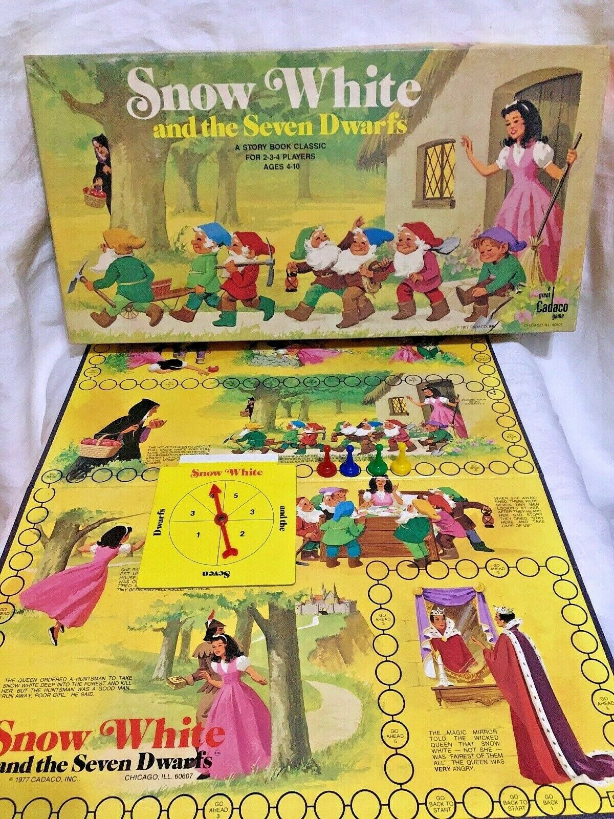 Vintage Snow White and the Seven Dwarfs Board Game Cadaco 1977 COMPLETE