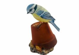 Bluebird figurine Royal Osborne Blue Bird flower pot porcelain bisque fi... - $38.65