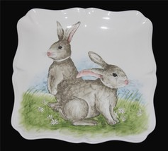 "4 LRG Maxcera Two Easter Bunnies Scalloped 11-3/4"" Square HVY Dinner Pla... - $56.99"