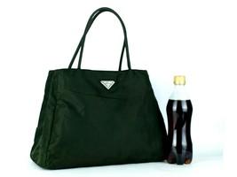 Authentic PRADA Milano Handbag Olive Green Nylon Tote Hand Bag Purse Italy - $147.51
