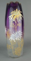 Mt. Joy Vase Rose Amberina Hand-Painted Blossoms Scalloped Rim - $995.00