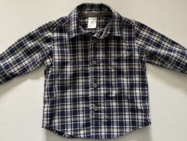 Carter's Baby Boys Clothes, SZ 3 MO, Navy Blue and White Plaid Oxford Shirt - $8.00