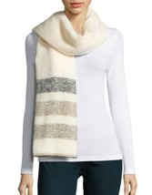 Lauren Ralph Lauren Adirondack Stripe Blanket Scarf Cream Grey Stripes O... - $39.90