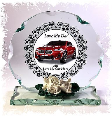 BMW Red Car 'I Love My Dad' Fathers Day Design Cut Glass Round Plaque Frame  #1