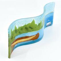 Fused Art Glass Lake River Canoe Lakefront Wavy Sun Catcher Handmade in Ecuador image 3