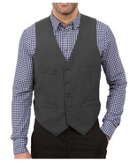 NEW MENS KENNETH COLE REACTION GREY TEXTURED SUIT SEPARATES DRESS VEST 38 S - $19.79