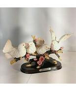 Vintage Meerchi MRH 4 Dove Birds Resin Figurines on Branch Flowers on Tree - $44.95