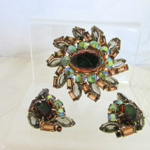 Vintage Exquisite Watermelon Rhinestone Oval Pin Brooch Earrings Set D&E... - $157.50