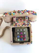 Phone Western Electric Pink Push Button Corded Telephone At&T Embellishe... - $75.00