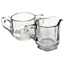 Antique Heisey Clear Glass Paneled Open Sugar Bowl & Creamer Set - $21.99