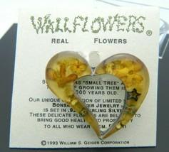 Wallflowers Real Flower Sterling Silver Heart Pin Brooch 1993 Vintage - $24.74