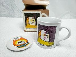 Hallmark Mug Mates Vintage 1985 Coffee Mug Coaster Cat Kitty Set Origina... - $22.48