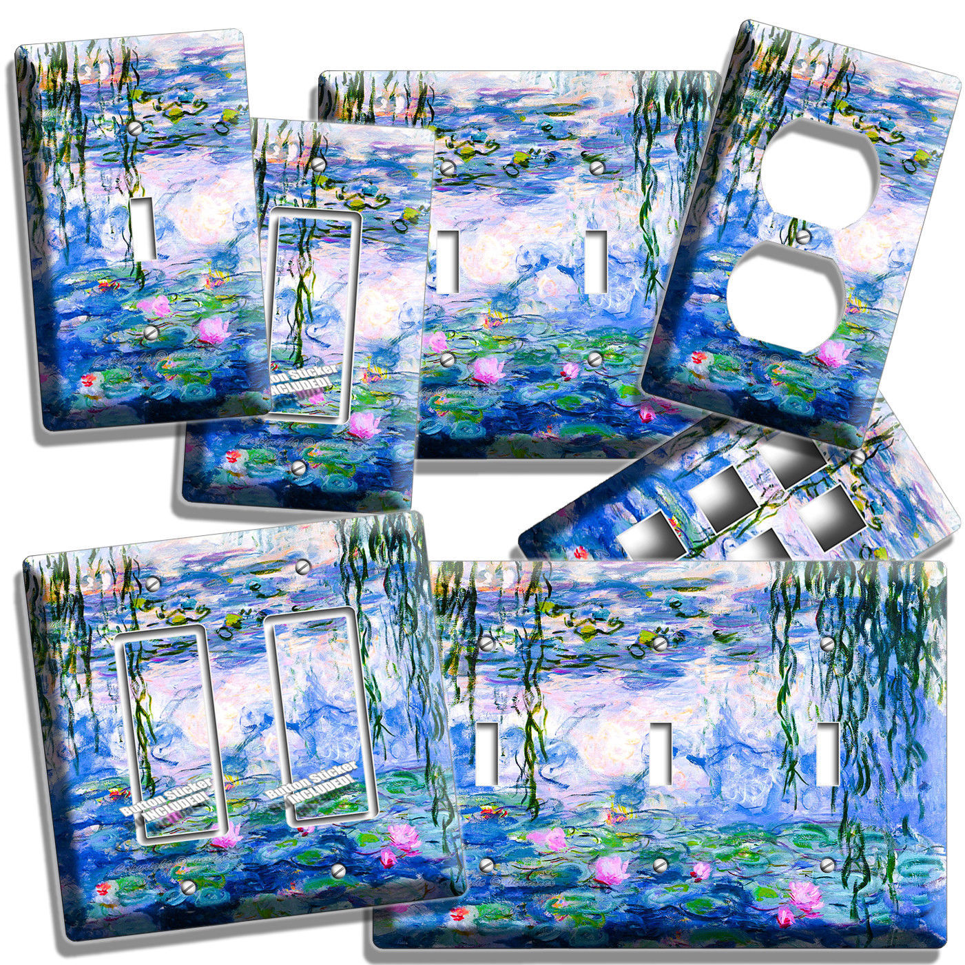 WATER LILIES CLAUDE MONET PAINTING LIGHT SWITCH OUTLET WALL PLATE ROOM ART DECOR - $9.99 - $21.99