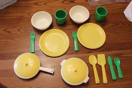 HTF Vtg Little Tikes Dish Cups Spoon pots pan set lot fun with kitchen p... - $39.24