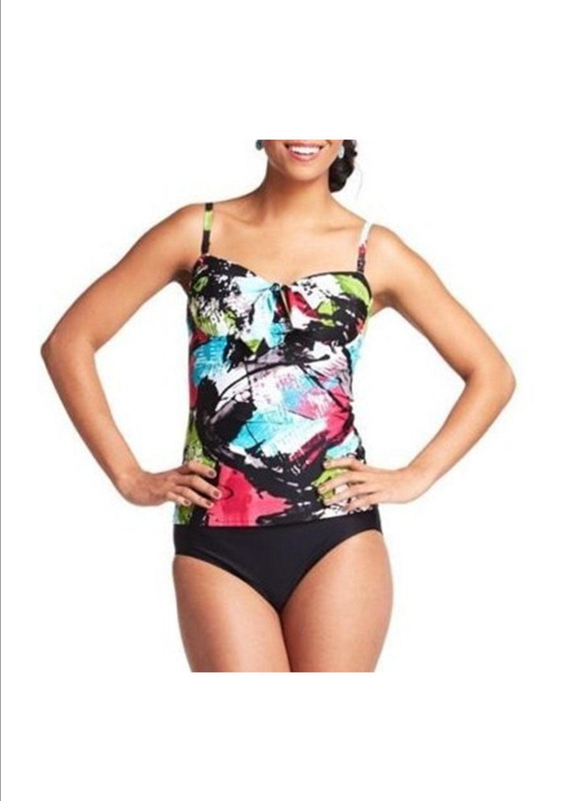 83f34c5bcf631 S l1600. S l1600. Previous. Croft   Barrow Swim Underwire bust Enhancer Tankini  Top Floral Black Multi Sz 6