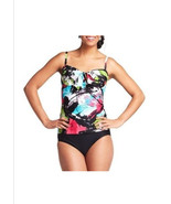 Croft & Barrow Swim Underwire bust Enhancer Tankini Top Floral Black Mul... - $9.99