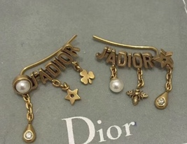 Authentic Christian Dior 2019 J'ADIOR CD Logo Multi Charm Dangle Earrings Gold image 6