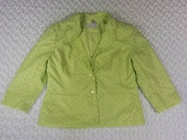 Sag Harbor Lime Green Eyelet Blazer Jacket Size 12 Two Button Pockets Lined - $12.58