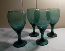 Set of 4 Libbey Green Teardrop 10 oz Goblets With Gold Trim Wine Water Christmas - $17.00