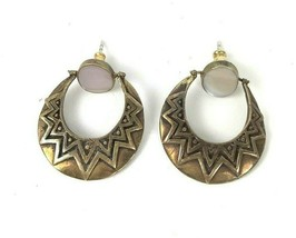 Vtg Boho Dangler Earrings Brass MOP Shell Mod geometric pierced jewelry  - $15.83