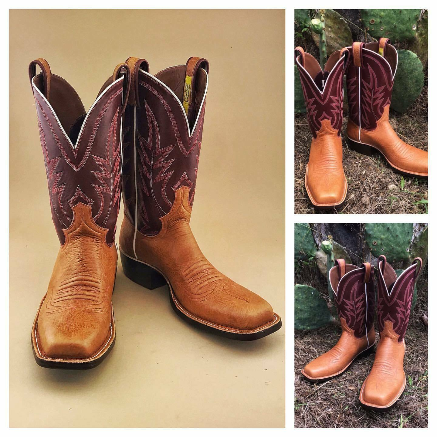 Primary image for Handmade Men's Maroon & Tan Leather Cowboy Mexican Western Hunter Jumper Boots