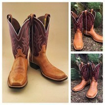 Handmade Men's Maroon & Tan Leather Cowboy Mexican Western Hunter Jumper Boots image 1