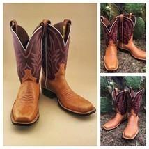 Handmade Men's Maroon & Tan Leather Cowboy Mexican Western Hunter Jumper... - €424,26 EUR