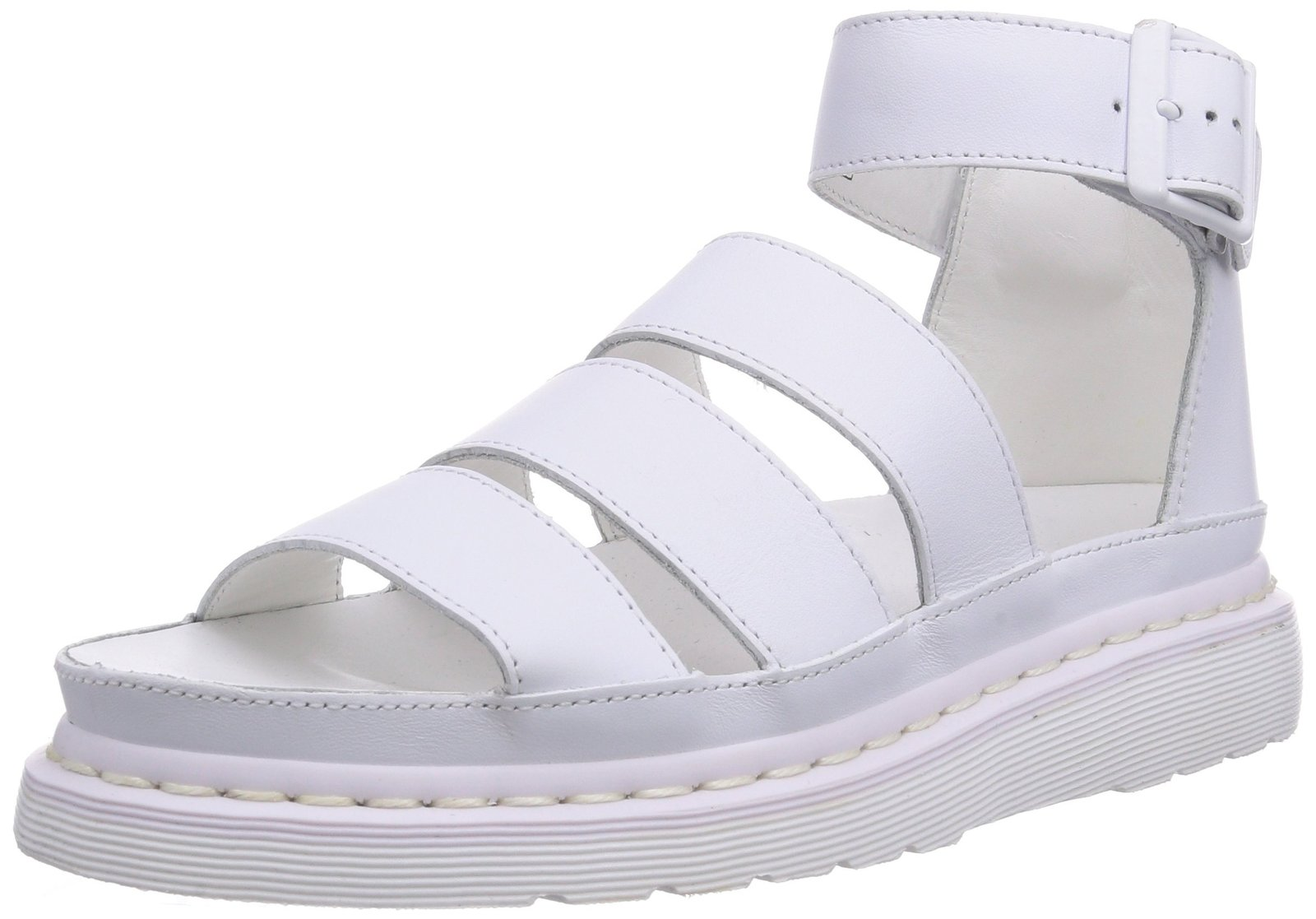 Dr. Martens Women's Clarissa Chunky Strap Casual Sandals, White Leather, 6 M UK,