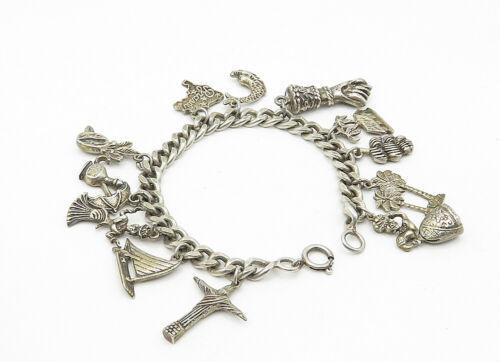 925 Sterling Silver - Vintage Assorted Charm Curb Link Chain Bracelet - B6326 image 2