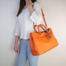 Dior Orange Calfskin Leather Diorissimo Large Tote Bag - $899.00