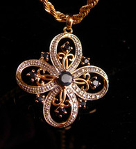 Blue Sapphire Celtic Cross - Gold over sterling / 18th 65th anniversary ... - $125.00